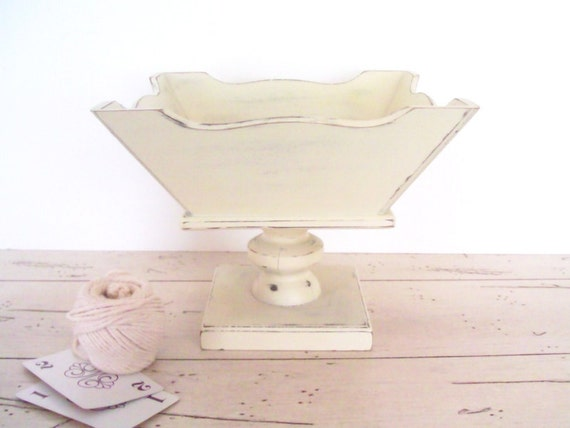 Wood Pedestal Compote Shabby Chic Distressed White Wooden Dessert Stand