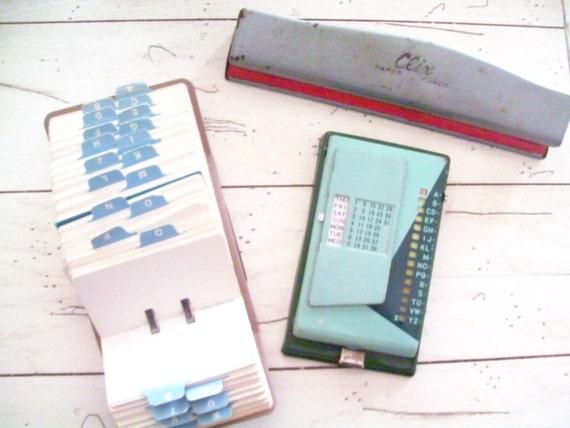 Retro Office Supply  Rolodex Metal Phone Address Book  Metal Hole Punch Vintage Office Desk Set
