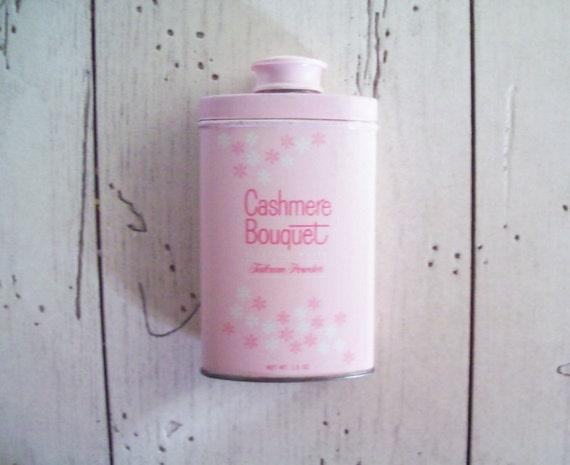 Vintage Cashmere Bouquet Talcum Powder Tin Pink Powder Tin Cottage Chic Vanity Decor Pink Decor