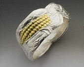 corn ring, silver, gold kernels, mixed metal, summer ring, made in america