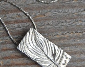 tree necklace, silver tree pendant, made in america, pine bough series hand carved