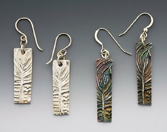 silver tree earrings, made in america, hand carved, tree of life, botanical jewelry, abstract pine bough series with patina