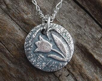 tiny tulip necklace, mini tulip pendant, whisper chain, dainty, silver tulip pendant, spring necklace, tulip necklace, made in america
