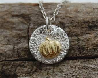Halloween jewelry, gold pumpkin necklace, butterfly necklace, mixed metal, tiny necklace, harvest gold, mini necklace, gardener gift