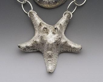 silver star, sea star necklace, starfish pendant, knobby sea star, eco friendly