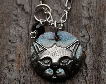 silver black cat necklace, with onyx charm