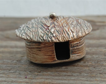 miniature silver yurt, miniature castle, eco friendly, yurt sculpture, castle sculpture, made in america, fairy house, for desk