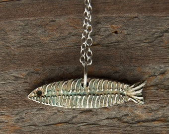 shark necklace, silver fish, trout pendant, march birthday, fish bones,  abstract jewelry, pisces birthday, made in america