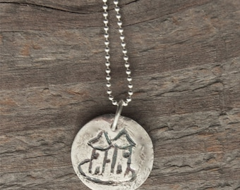 silver castle necklace, valentines, primitive drawing, made in america