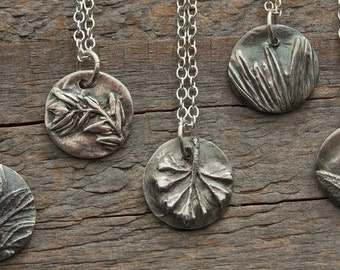 bridesmaid silver necklaces, botanical jewelry, wedding jewelry, gift for gardener, gift for chef