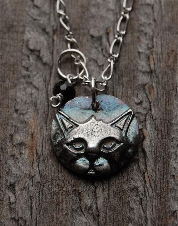 silver black cat necklace, onyx charm, Halloween necklace, Halloween jewelry, silver cat, black cat, cat jewelry, cat necklace, cat pendant