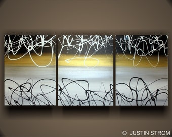 Original Abstract Painting by Justin Strom Large 54  x  24 3 Panel Painting Made To Order, Gold Black and white Tryptic Original Painting