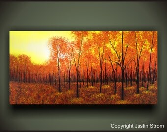 Fall Autumn Landscape Fine Art Canvas Giclee Modern Decor Bright Colorful For Any Room From Original Painting Seasonal Colors Trees & Leaves