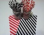 30 Black Stripe Paper Straws.... w/ DIY Blank Printables, Retro, Vintage Inspired, Biodegradable