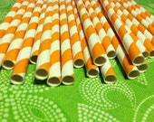 30 Paper Straws.... Orange and White Striped Paper Straws