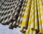 30 Paper Straws.... Yellow and Gray Stripe with FREE DIY printable flags