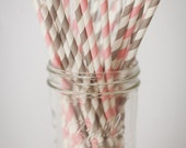 30 Paper Straws....Light Pink and Gray Set...   with FREE DIY Blank Flags, Retro