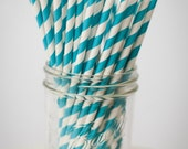 30 Paper Straws, Teal Blue Set - with FREE DIY Blank Flags, Retro