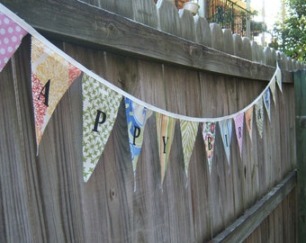 Custom Made Fabric - Cloth Banner Bunting Pennant  reusable washable