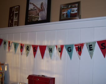 Custom Made Canvas Fabric Reusable Bunting Banner for wedding reception