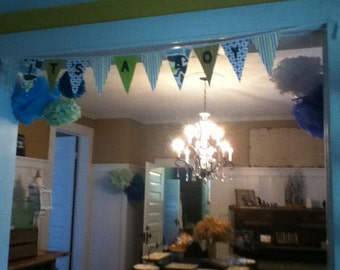 Fabric It's A Boy Baby Announcement Banner Flag Pennant Bunting Washable Resuable