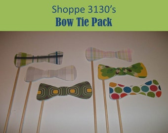 Bow tie mustache on a stick party photo prop DIY kit