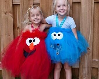 Elmo Tutu Cookie Monster Oscar the Grouch Big Bird Sesame Street Inspired Tutu for Birthday Party or Halloween Costume