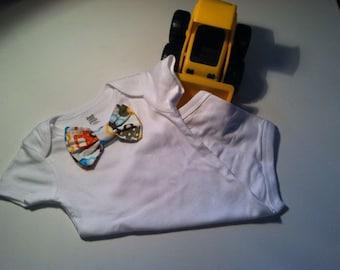 Go Cars fabric Bowtie on bodysuit style onesie or tee