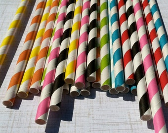 Paper Straws 50 straws Your choice of colors w/ DIY Blank Printables, Retro, Vintage Inspired, Biodegradable