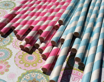 Paper Straws.... Pink and Blue Stripe Mix Set of 30