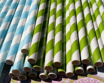 Paper Straws.... Set of 30 Green and Light Blue Striped Straws