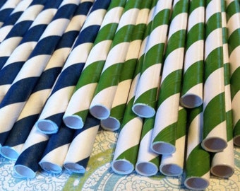 30 Navy Blue and Green Stripe Paper Straws.... w/ DIY Blank Printables, Retro, Vintage Inspired, Biodegradable