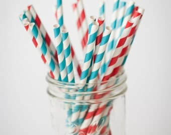 25 Paper Straws.... Red and Teal Blue Set.. Great for Dr Seuss or Elmo Parties ...  with FREE DIY Blank Flags, Retro