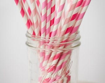 30 Paper Straws....Pink Mix Set, Different Shades of Pink,  with FREE DIY Blank Flags, Retro