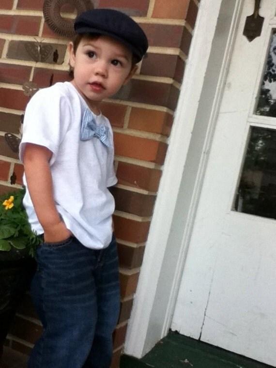 Baby or Toddler tee shirt with seersucker bow tie