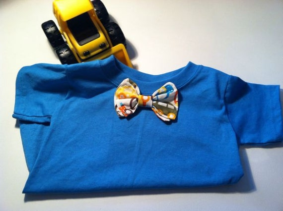 Go Cars fabric Bowtie on blue tshirt for baby or toddler