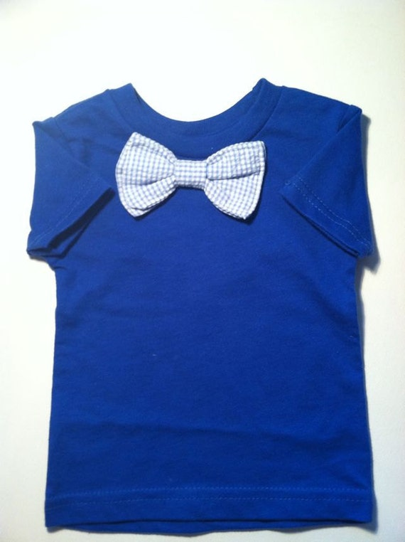 Baby or toddler bow tie tee shirt with seersucker bow tie for Baby shirt and bow tie