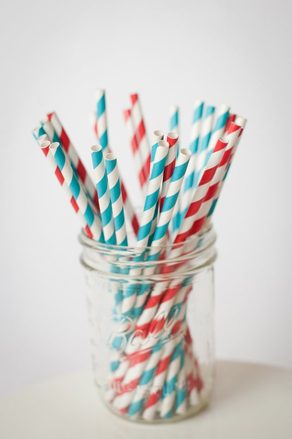 30 Paper Straws.... Red and Teal Blue Set.. Great for Dr Seuss or Elmo Parties ...  with FREE DIY Blank Flag File, Retro