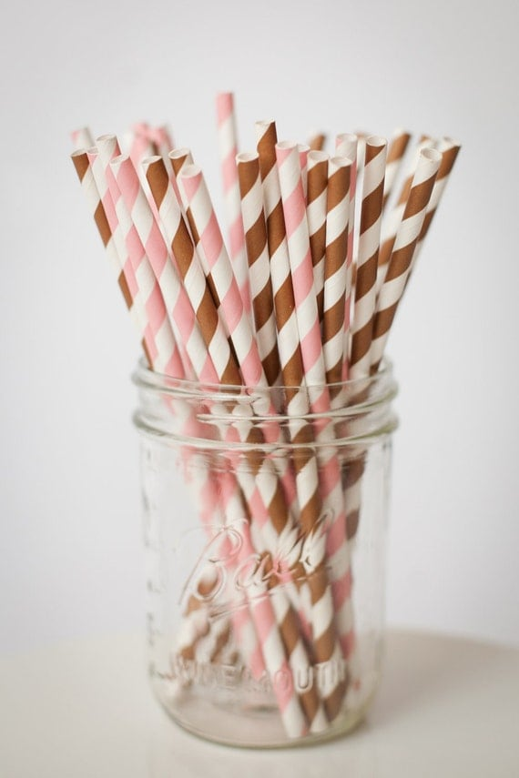 30 Paper Straws....Pink and Brown Mix Set  with FREE DIY Blank Flags, Retro