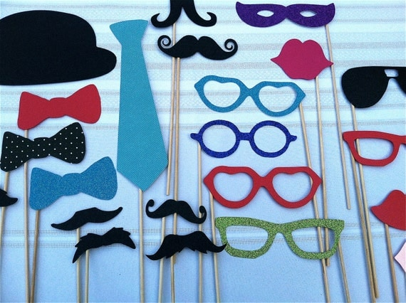 Wedding Photo Booth Props - 32 piece prop set - Birthdays, Weddings, Parties - Photobooth Props