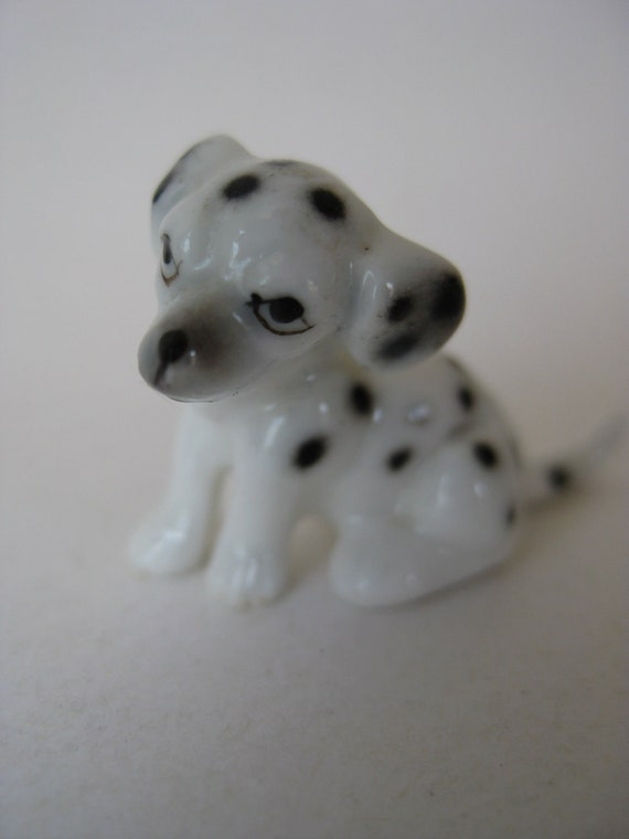Dalmatian Puppy Dog Figurine Porcelain Miniature Vintage