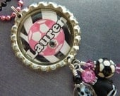 PERSONALIZED Soccer Girl Bottle Cap Pendant Necklace/Keychain