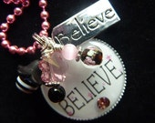 Simply Believe Bezel Pendant Necklace with Charm/ Backpack Zipper Pull