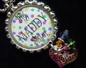 Big Sister/Little Sister Polka Dot PERSONALIZED Bottle Cap Pendant Necklace
