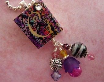 PERSONALIZED Stained Glass Damask Scrabble Tile Pendant Necklace
