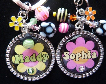 PERSONALIZED Flower Power Bezel Keychain/ Backpack Zipper Pull/ Pendant Necklace/ID retractable badge reel/lanyard