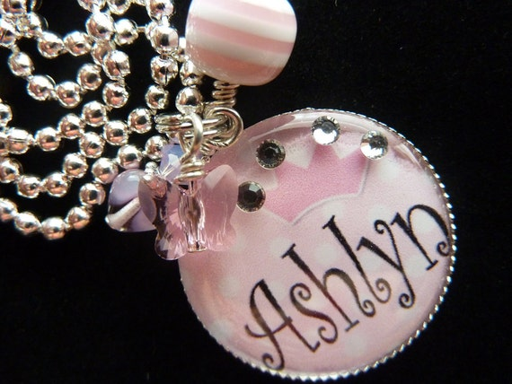 Pink Polka Dot Tiara PERSONALIZED Bezel Pendant/Backpack/Zipper Pull