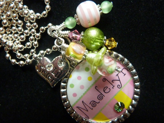 PERSONALIZED Big Sis/ Lil Sis Bezel Pendant Necklace/ Backpack Zipper Pull