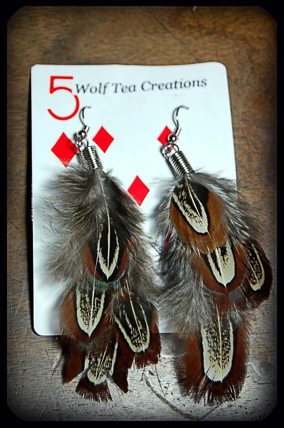 pheasant feather earring
