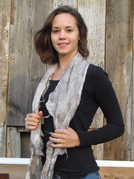 Nuno felted scarf from Icelandic fiber natural gray colors